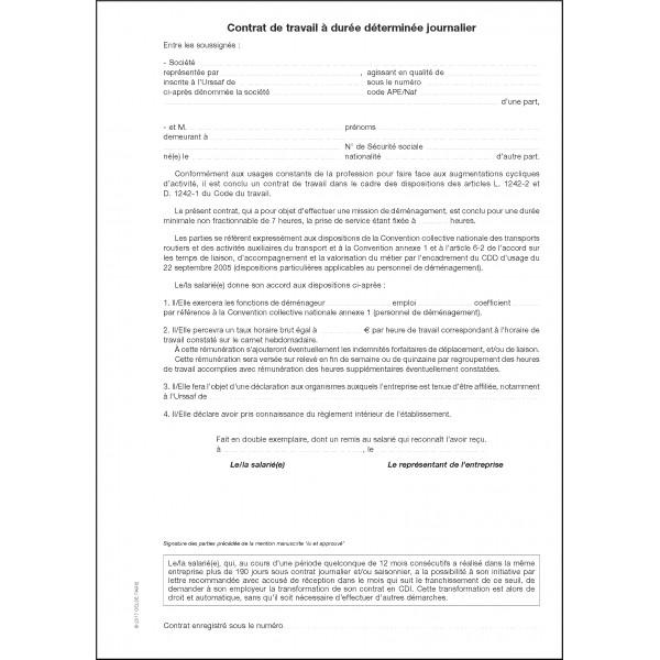 Contrats De Travail A Duree Determinee Contrat Journalier Cdd Special Demenagement
